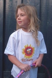 Bee Happy Baby and Childrens T Shirt short sleeves