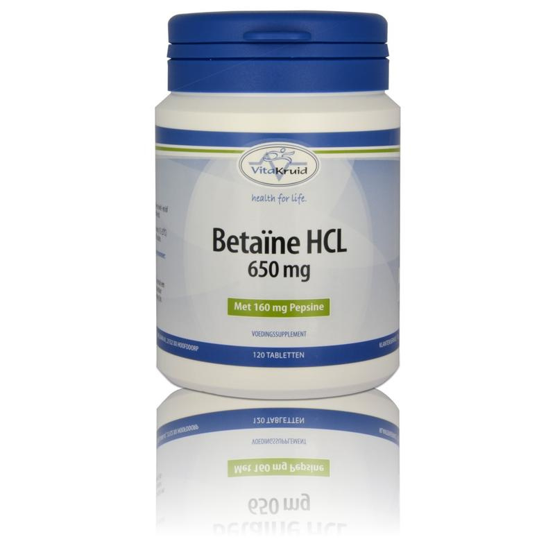 Vitakruid Betaine HCL 650 mg & pepsine 160 mg. 120 tabletten.