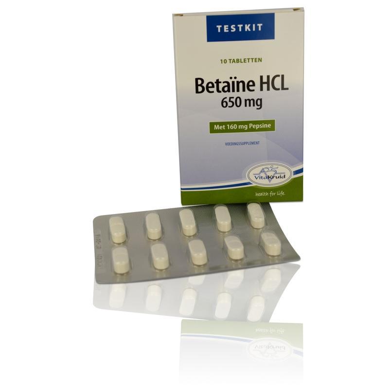 Vitakruid Betaine HCL testkit 10 tabletten.