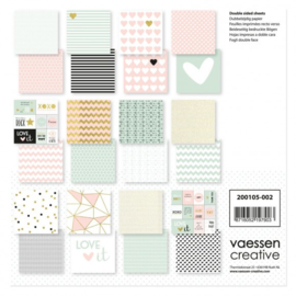 "200105-002 Vaessen Creative Love It cardstock 12x12"" 2x12 double sided"