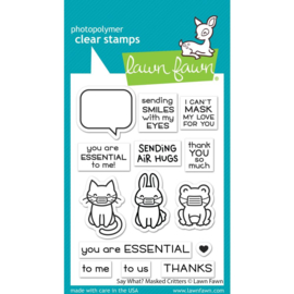 """LF2560 Lawn Fawn Clear Stamps Say What? Masked Critters 3""""X4"""""""