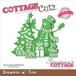 "506480 CottageCutz Elites Die Snowman W/Tree 3.7""X3.2"""