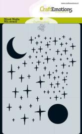 185070/0116 CraftEmotions Mask stencil Angel & Bear - sterren en maan Carla Creaties