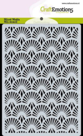 185070/0305 CraftEmotions Mask stencil achtergrond Waaier Art Deco A6