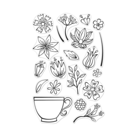 "573180  Hero Arts Clear Stamps 4""X6"" Teacup Flowers"