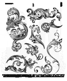 "CMS 367 Tim Holtz Cling Stamps Scrollwork 7""X8.5"""