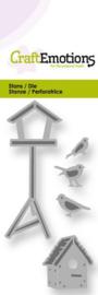 115633/0202 CraftEmotions Die vogelhuisjes en vogels Card 5x10cm