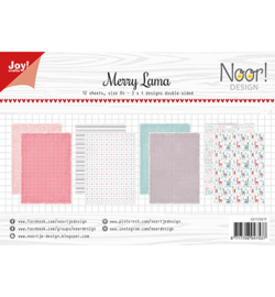 6011/0617 Papier Set A4 Noor Design Merry Lama