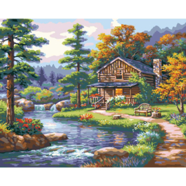 """558013 Paint By Number Kit Mountain Creek Cabin 16""""X20"""""""