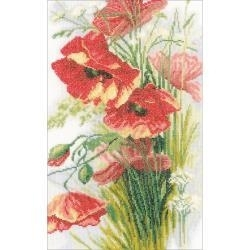 519326 LanArte Poppies On Linen Counted Cross Stitch Kit