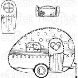 "594594 Heartfelt Creations Cling Rubber Stamp Set Happy Camper 1"" To 5.25"""