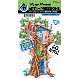 571609 Art Impressions Critter Cubbies Clear Stamp & Die Set Woodland Tree