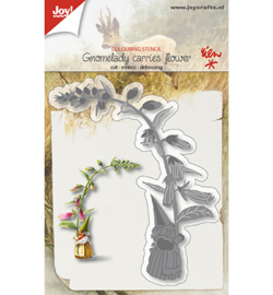 6002/1210 Snij-kleurstencil Kaboutervrouw draagt bloem