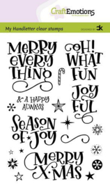 130501/2201 CraftEmotions clearstamps A6 - handletter - Merry X-mas (Eng) Carla Kamphuis