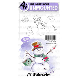 571592 Art Impressions Watercolor Cling Rubber Stamps Snowman