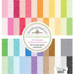 "342550 Doodlebug Petite Prints Double-Sided Cardstock Floral-Graph Rainbow 12""X12"""