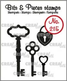 CLBP215 Crealies Clearstamp Bits & Pieces 3x sleutels+ hangslot