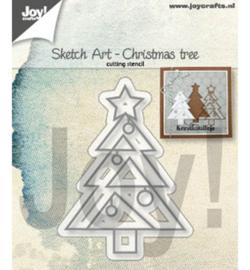6002/1312 Cutting & embossing Sketch Art Kerstboom