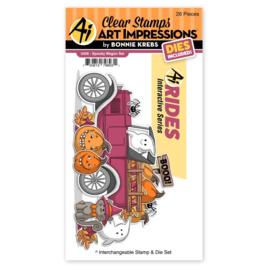 663845 Art Impressions Funny Farm Stamp & Die Set Spooky Wagon