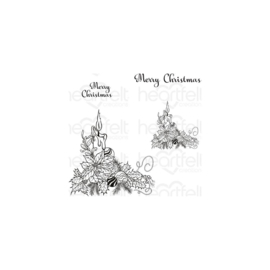 600842 Heartfelt Creations Cling Rubber Stamp Set Candlelit Poinsettia