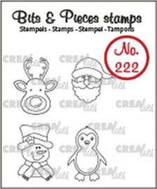 130504/0222 Crealies Bits & Pieces Mini rendier, kerstman, pinguïn CLBP222 4x max 15x20mm