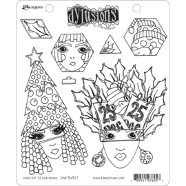 """DYR76957 Dyan Reaveley's Dylusions Cling Stamp Collections Hats Off To Christmas 8.5""""X7"""""""