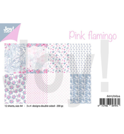 6011/0624  Design Pink flamingo Papier Set A4