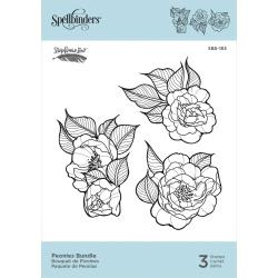 SBS183 Spellbinders Cling Stamps Peonies Bundle By Stephanie Low