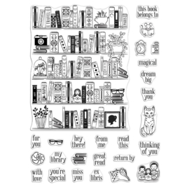 "620611 Hero Arts Color Layering Clear Stamps Bookcase Peek-A-Boo 4""X6"""