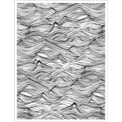 CG660 Basic Grey Adrift Cling Stamp Wave Background By Hero Arts