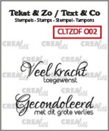 130505/6132 Crealies Clearstamp Tekst & Zo Duo Font Overlijden 02 (NL) CLTZDFO02 34x12mm - 40x11mm