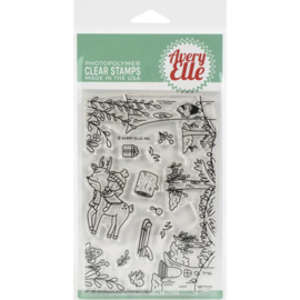 "641850 Avery Elle Clear Stamp Set Woodland Scene Builder 4""X6"""