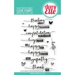 "304189 Avery Elle Clear Stamp Set Loads Of Wishes 4""X6"""