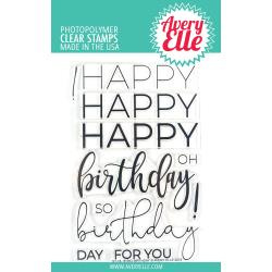 "038834 Avery Elle Clear Stamp Set Big Birthday 4""X6"""
