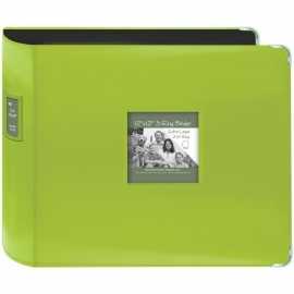 "063222 Sewn Leatherette 3-Ring Binder 12""X12"" Bright Green"