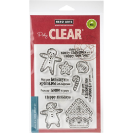 "613684 Hero Arts Clear Stamps Christmas Gingerbread Cookies 4""X6"""