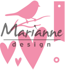 COL1443 Marianne Design Collectables Giftwrapping Karin's bird, hearts & tag