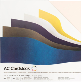 """AC344852 American Crafts Smooth Cardstock Pack Modern Neutral, 6 Colors 12""""X12"""" 60/Pkg"""
