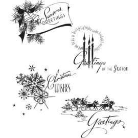 "CMS 353 Tim Holtz Cling Stamps Holiday Greetings 7""X8.5"""