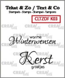 130505/6203 Crealies Clearstamp Tekst & Zo Duo Font Kerst 03 (NL) CLTZDFK03 40x9mm - 29x16mm