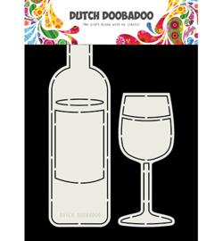 470.713.831 Dutch DooBaDoo Card Art Wine Bottle and Glass
