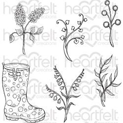 "358598 HCPC3811 Heartfelt Creations Cling Rubber Stamp Set Rain Boots & Blossoms 5""X6.5"""