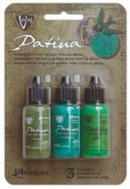 VPK34827 Vintaj Patina Kits  Weathered Copper: Moss, Verdigris and Jade.