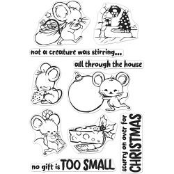 """520917 Hero Arts Clear Stamps Christmas Mice 4""""X6"""""""