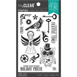 """664550 Hero Arts Clear Stamps Steampunk Holiday 4""""X6"""""""