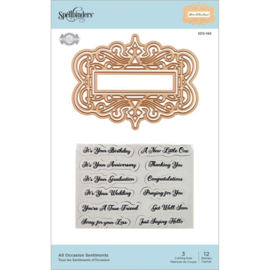 SDS166 Spellbinders Flourished Fretwork Stamp & Die All Occasion Sentiments By Becca Feeken