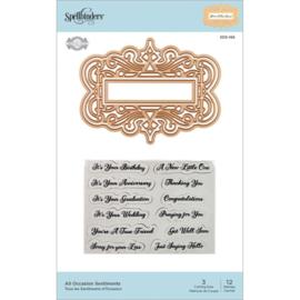 SDS166 Spellbinders Flourished Fretwork Stamp & Die All Occasion Sentiments By Becca Feeken