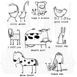 """CMS 361 Tim Holtz Cling Stamps Funny Farm 7""""X8.5"""""""