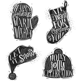 CMS 313 Tim Holtz Cling Stamps Carved Christmas #1