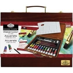 513887 Wooden Box Art Set Watercolor Painting 25pc